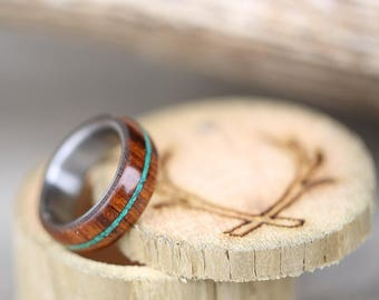 Men's Wedding Band - Wood and Turquoise Ring - Staghead Designs