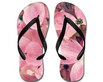 Wonderful - Summertime Flip Flops - pink springtime dogwood blossoms, Original Photograpy by RDelean Designs