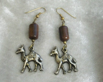 Camel Earrings with Wooden Beads