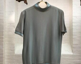 vintage men's pullover top // italian knit short sleeved top // made in italy // men's medium