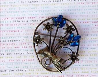 ON SALE Art Deco Nouveau Sterling Brooch - Cobalt Blue Rhinestones