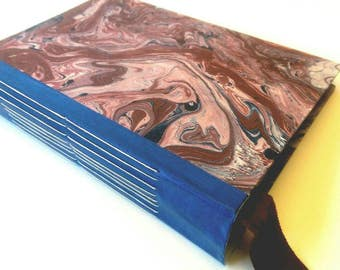 Writing Journal, Photo Album, Junk Journal, Wedding Guestbook, Dream Journal, Boho Journal, Blue and Red, Marbled, Cherub, 6 x 9 inches