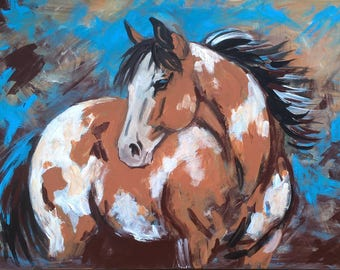 24x36 inches Large Original acrylic Abstract Painting Buckskin Pinto Paint Horse Colorful