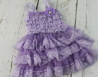 Lavender Flower Girl Dress Lilac Rustic Girls Dress Junior Bridesmaid Dress Country Shabby Chic Wedding Dress Light Purple Jr Bridesmaid