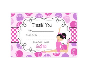 Gymnastics Thank You Card - Pink and Purple Circle Polka Dots, Girl Gymnast Personalized Birthday Party Thank You - Digital Printable File