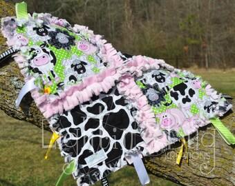 Farm Animal / Barnyard /  Minky Tag Rag Blanket