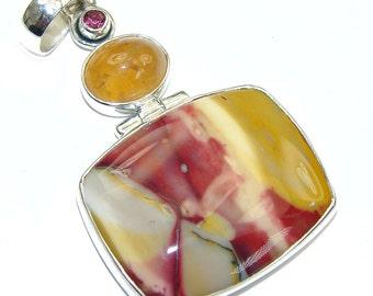 Mookaite, Golden Rutilated Quartz, Garnet Sterling Silver Pendant - weight 12.90g - dim L -2 3 8, W -1 1 4, T -1 4 inch - code 26-sty-16-15
