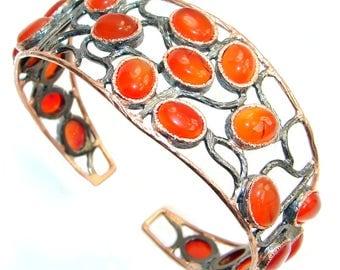 Carnelian Sterling Silver Bracelet - weight 36.90g - dim 1 1 4 inch - code 19-gru-16-25