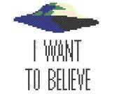 PDF PATTERN I want to believe X-Files UFO cross stitch