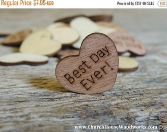 """SUPER WINTER SALE 100 Best Day Ever 1"""" Wood Hearts, Wood Confetti Engraved Love Hearts- Rustic Wedding Decor- Table Decorations- Small Woode"""