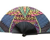 Designer HAND FAN | multicolored Tribal Art style print | African design | fashion accessories | gift for her | Free Shipping Worldwide