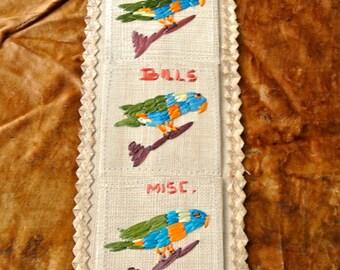 Vintage rattan organiser for letters, bills, misc-  features woven birds/parrots