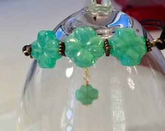 Four Leaf Clover, Leather Bracelet