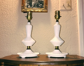 Pair of Vintage 1940's Hobnail Milk Glass Lamps
