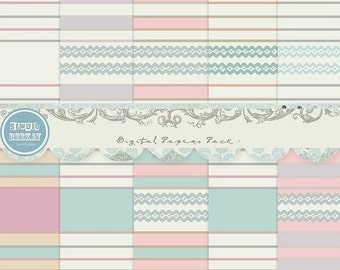 ON SALE Digital Scrapbooking Papers pack, 12x 12 in , 300 dpi ( 3600X 3600 ) Cu ok vol.26 - Instant Download