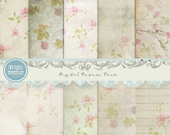 ON SALE Digital Scrapbooking Papers pack, 12x 12 in 300 dpi vol.44 - INSTANT Download