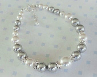 Light Grey Bridesmaid Bracelet, Grey Pearl and Crystal Bracelet, Silver Pearl, Crystal and Grey Pearl Bracelet Bridal Party, Bridesmaid Gift