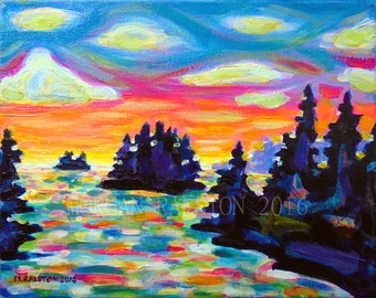 ORIGINAL Acrylic Painting - Landscape With Saucers - 9 x 12 Colorful Canada Cottage Lake Art