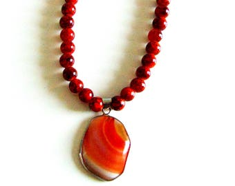 Brown Marble Agate Necklace