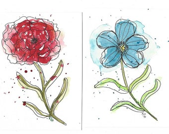 Pair of Original Pen and Ink Drawings with Watercolor Wash - Abstract Flowers - Not a Print