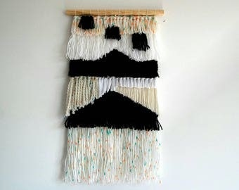 Woven Wall Hanging, Black and White.