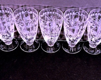 Ice Tea Glasses Heisey Cut Glass Footed Goblets Bohemian Swell Set of 6