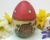 READY TO SHIP Toadstool Faerie Door Hollow Wooden Easter Egg, Waldorf Wooden Egg, Mushroom Egg, Easter Basket Gift, Detailed Ostara Egg