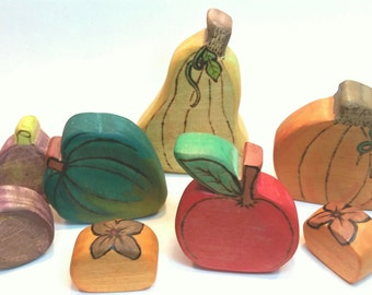 Autumn Harvest // Waldorf Inspired Wooden Toy Produce for the Natural Play Kitchen // Wooden Play Food // Natural Toy Produce