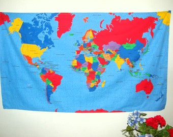 Large World Map Wall Hanging - Countries, Cities, Oceans, Colorful - Gift for teachers, families, retirees, travelers