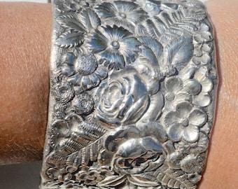 ON SALE 50% OFF Large Antique Tiffany Solid Sterling Silver 925 Victorian Wide Cuff Bracelet Floral Repousse Bouquet.925 Bride Bridal Bangle