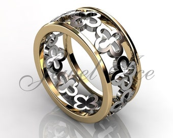 Floral Wedding Band - 14k Yellow and White Gold Unique Floral Patterned Wedding Band LB-2038-7