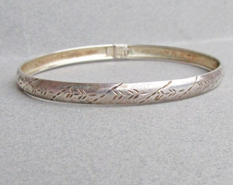 Italian, Vintage, Sterling Silver, Etched, Bangle, Bracelet