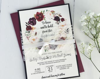 Burgundy Wedding Invitation, Marsala and Pink,  Lace Wedding Invite Set, Rustic Floral Wedding Invitation, Boho Chic, Vintage Wedding