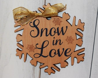 Snow in Love/Engraved Ornament/Wedding/Favor/Wedding Ornament/Tag/Christmas Wedding/Wood/Shower Favors/Snowflake/Winter Wedding/Navy Blue