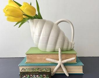vintage bone white shell pitcher Shafford Originals 1984 ceramic vase