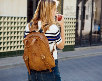 Brown Leather Backpack Purse, Leather Tote Bag, Laptop Backpack, Leather Laptop Bag, Woman Travel Backpack, Brown Leather Bag, Handmade Bag