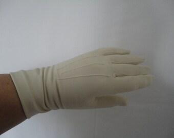 Vintage Classic Pair of Dents Nyvelda Bri-Nylon Dark Cream Wrist Gloves - 1960s - Size UK 7 - Formal/Wedding/Goodwood/Madmen/Prom/Revival