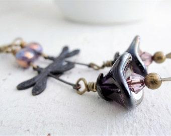 Black Dragonfly Earrings Purple Bohemian Flower Earrings Long Purple Earrings Antiqued Brass Earrings Czech Glass Flower Earrings