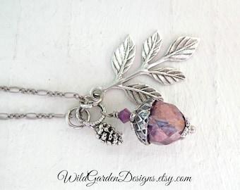 Acorn Pendant Amethyst Purple Opalite Glass Acorn Pinecone Necklace Branch Leaf Pendant Good Luck Symbol Wedding Jewelry Charm Necklace