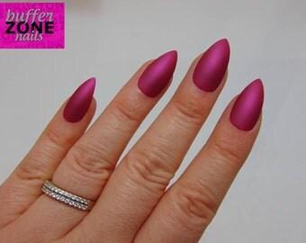 Hand Painted Press On False Nails, Metallic Matte Pink, Long Length Stiletto