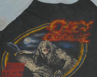 1984 OZZY OSBOURNE / Motley CRUE vintage rock concert tour metal band raglan jersey t-shirt (S/M) 80s 1980s tee tshirt Black Sabbath Gift