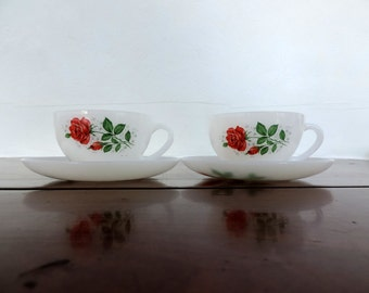 Arcopal milk glass pair of large cups and saucers with a lovely red rose floral motif