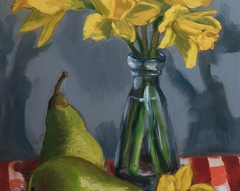 Large Fine Art Limited Edition Giclée Print Of Original Corinne Korda Still Life Oil Painting Daffodils & Pears