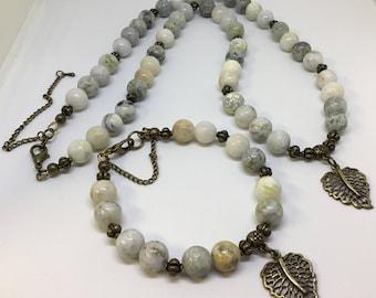 Bronze semi precious gemstone necklace and bracelet set .