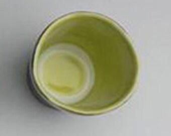 Shot Glass, Charcoal & Pear Green shot glass, porcelain cup, sake cup