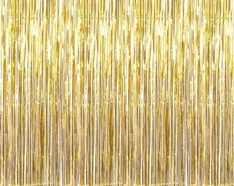 3'x8' Gold Foil Metallic Fringe Curtain Backdrop Party Decoration Wall Hanging Tinsel Dinner Christmas Hanukkah New Year's Eve