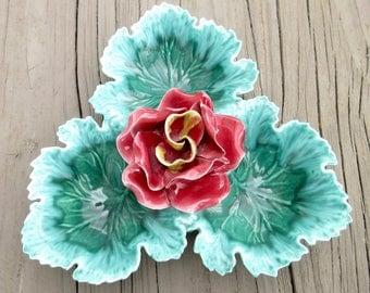 Vintage Majolica Ceramic Dish with Rose