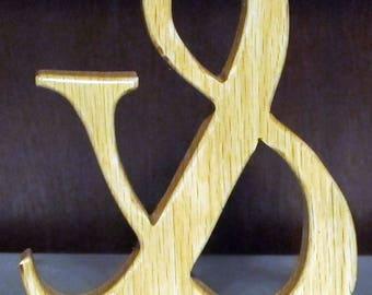 Wood Handmade Ampersand Table Ornament.