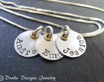 Mixed metal custom name necklace hand stamped personalized gift for mom jewelry