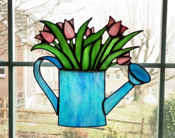 Stained Glass Tulips in Watering Can Suncatcher - Gardener Gift - Mothers Day Gift - Garden Decor - Glass Flower - Stain Glass Window Panel